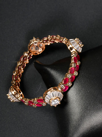 Rose Gold Plated Magenta Stone Studded Bracelet