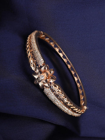 American Diamond Rose Gold Plated Floral Bracelet