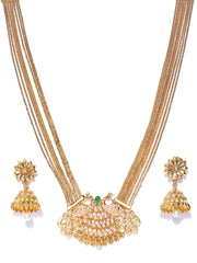 White Beads Gold Plated Peacock Jewellery Set