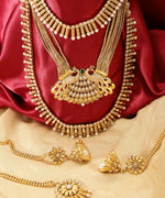 Priyaasi 3 Gold-Plated Pearls Studded Necklaces With Jhumki And Maangtika