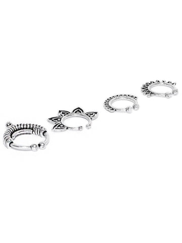 Set Of 4 Oxidised Silver-Plated Septum Nosepins
