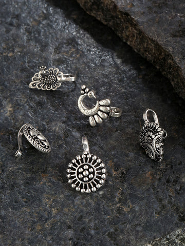 Set of 5 Oxidised Silver-Plated Free Size Clip-On Nosepins