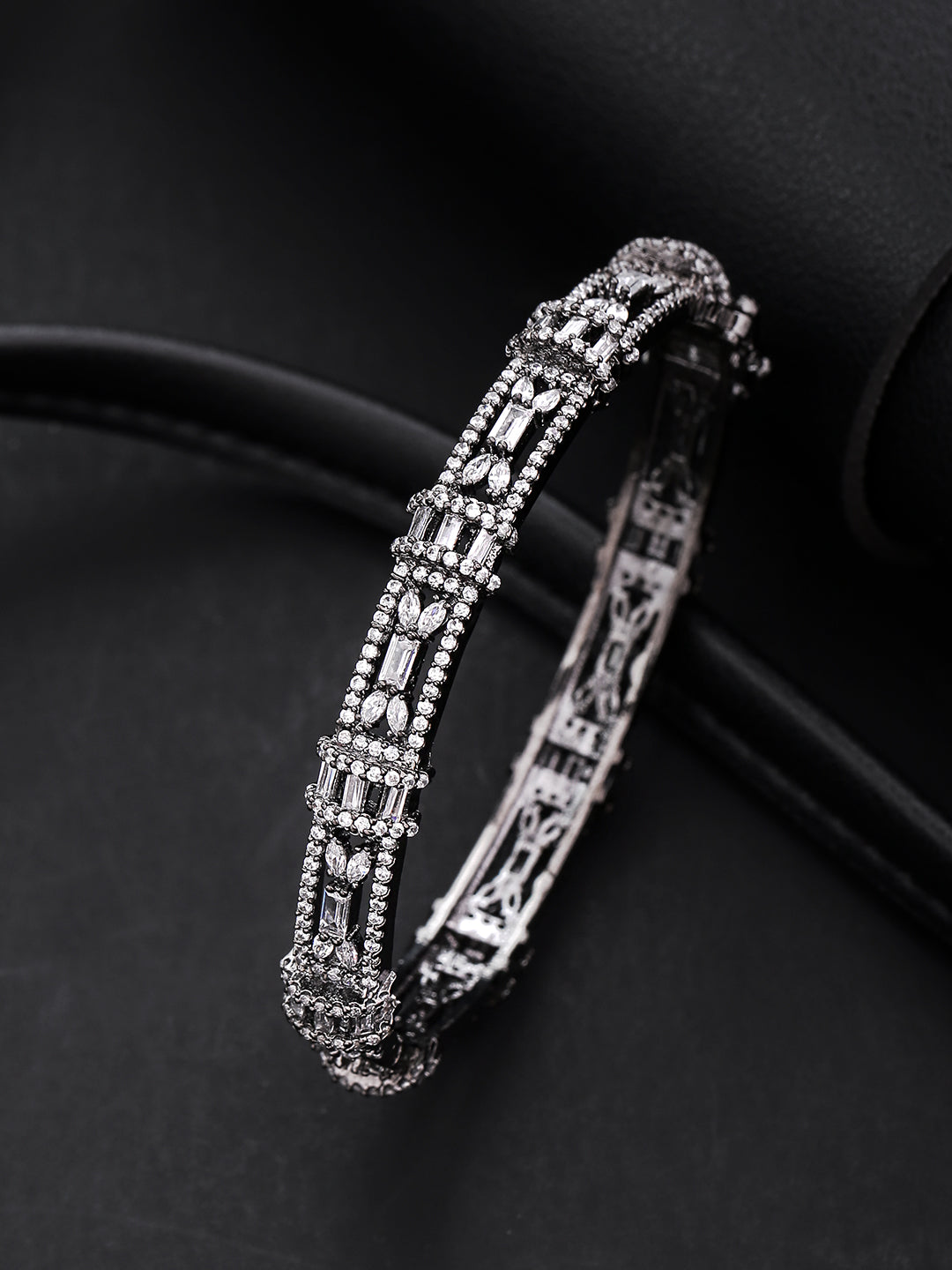 Gunmetal-Plated American Diamond Studded Bracelet