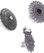 Priyaasi Oxidised Combo With Round And Peacock Shaped Rings -Set of 3