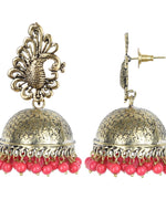 Priyaasi'S Peacock Inspired Red Pearl Gold Plated Jhumki Earrings For Women