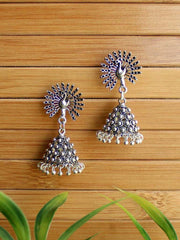 Peacock Inspired German Silver Oxidised Handmade Dangler Jhumki Earrings