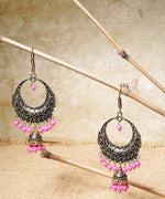 Golden Plated With Pink Beads Earrings Jhumki