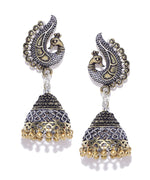 Peacock Inspired German Silver Double Tone Engrave Jhumki/Jhumka Earring