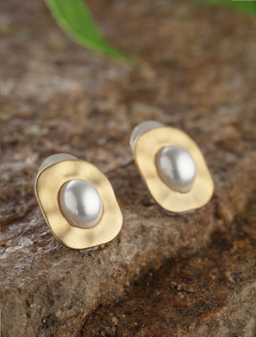 Gold-Plated Pearl Studded Stud Earrings