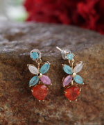 Prita Gold-Plated Stones Studded Floral Patterned Studs Earrings in Multicolor