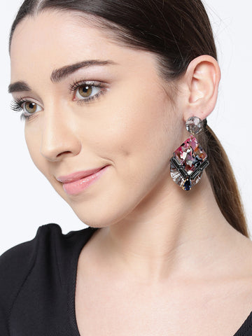 Cubic Zirconia Studded Multicolor Crystal Drop Earrings
