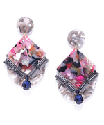 Prita Cubic Zirconia Studded Multicolor Crystal Drop Earrings