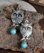 Prita Turquoise Stone Owl Drop & Dangle Earring For Women/Girls