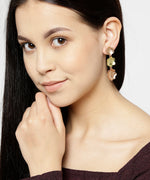 Priyaasi Designer Gold And Rose Gold Floral Pattern Layered Drop Earring With Push Back Closure For Women And Girls