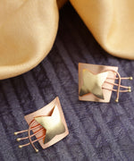 Geometric Gold And Rose Gold Star Shaped Stud Earring With Push Back For Women And Girls