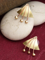 Gold And Copper Geometric Shaped Stud Earring With Push Back For Women And Girls