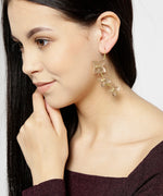 Priyaasi Designer Gold And Rose Gold Star Pattern Layered Drop Earring For Women And Girls