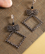 Prita Designer Gold Tone Stone Studded Geometric Shape Stylish Fashionable Party Wear Black Drop Earrings For Women And Girls