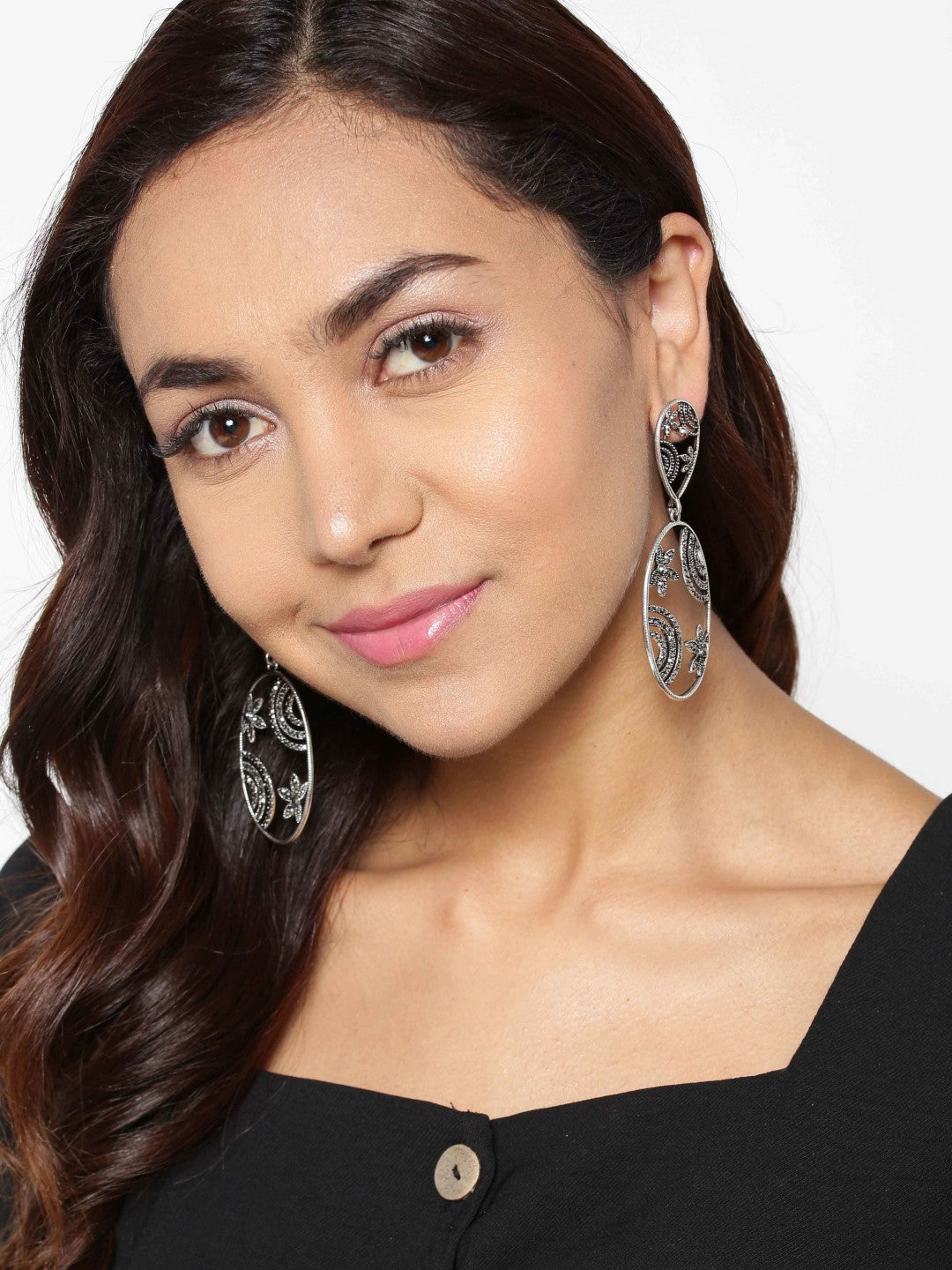 Designer Silver Toned Stone Studded Beautiful Design Elliptical Shape Stylish Drop Earrings For Women And Girls
