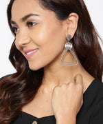 Prita Designer Silver Plated Double Layer Concentric Triangles Designer Fancy Fashion Drop Earrings For Women And Girls