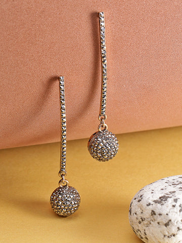 Designer Gold Plated Stone Studded Spherical Hanging Stylish Fancy Party Wear Drop Earrings For Women And Girls