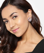 Prita Designer Gold Plated Stone Studded With Multicolor Pearls Flower Design Purple Stud Earrings For Women And Girls