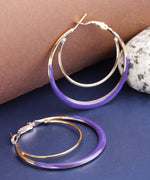 Designer Gold Plated Enamelled Purple And Golden Dual Layer Stylish Fancy Party Wear Hoop Earrings For Women And Girls