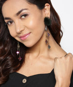 Prita Designer Gold Plated Chain Hanging Purple And Green Stones With Black Fur Stylish Drop Earrings For Women And Girls