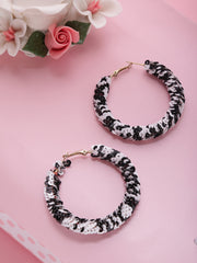 Designer Black And White Handcrafted Big Hoop Earrings