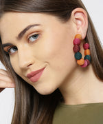Designer Multicolor Nylon Thread Balls Big Hoop Like Drop Earrings