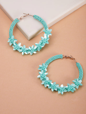 Designer Floral Pattern Beaded Mint Green Hoop Earrings