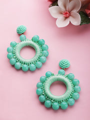 Designer Mint Green Beaded Hoop Like Earrings