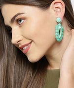 Prita Designer Mint Green Beaded Hoop Like Earrings