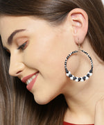 Prita Designer Black And White Shining Stone Handcrafted Big Hoop Earrings