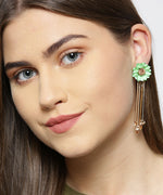 Gold Plated Beige Floral Pattern Tasselled Mint Green Drop Earrings