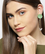 Gold Plated Floral Pattern Tasselled Mint Green Drop Earrings