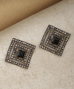 Prita Gold-Plated Black Stone Studded Curved Square Shape Geometric Drop Earrings