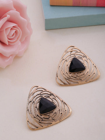 Gold-Plated Black Stone Studded Triangular Shape Geometric Drop Earrings