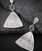Oxidised Silver-Plated Triangular Textured Drop Earrings
