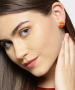 Prita Gold-Plated Saffron Colour Stud Earrings With 2 Pair Matching Studs Earrings