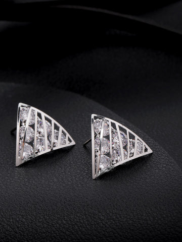 Silver-Plated Triangular Shape Beautiful Design Drop Earrings