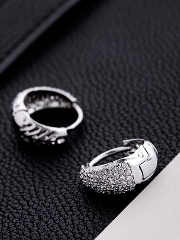 Silver Plated American Diamond Studded Hoop Shaped Bali Earrings