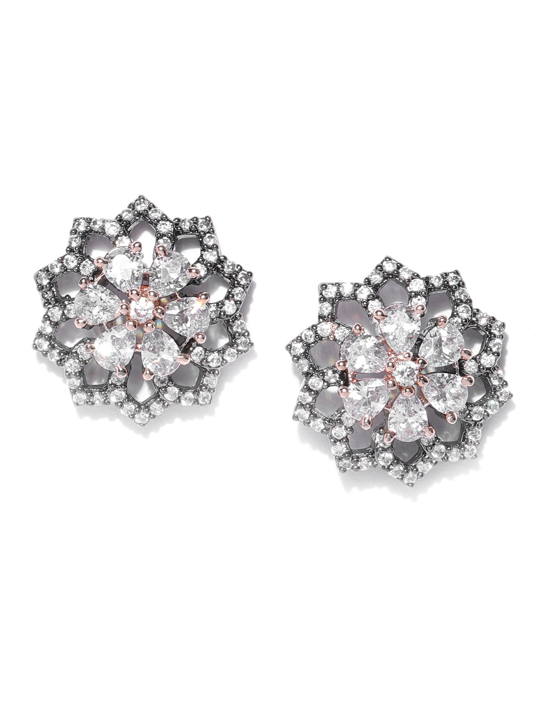 Gunmetal Plated American Diamond Studded Floral Shaped Handcrafted Stud Earrings