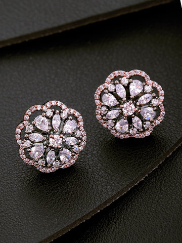 Gunmetal Plated American Diamond Studded Floral Designed Handcrafted Stud Earrings
