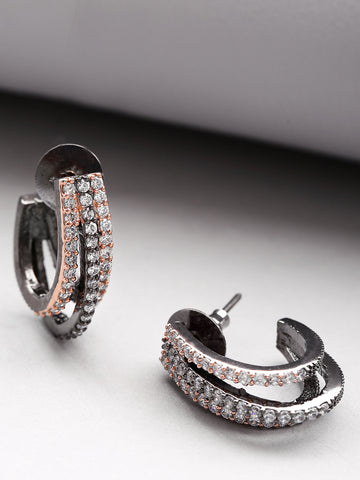Gunmetal Plated American Diamond Studded Triple Layered Shape Drop Earrings