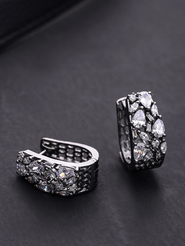 Oxidised Silver Plated American Diamond Studded Beautiful Stud Earrings