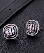 Prita Gunmetal Plated Ad Studded Concentric Square Shaped Geometric Stud Earrings