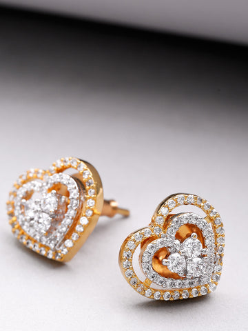 Gold Plated American Diamond Studded Heart Shaped Stud Earrings