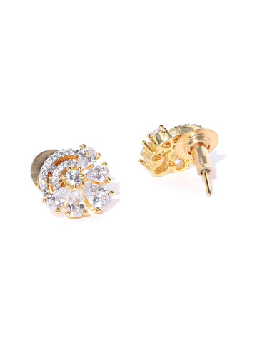 Gold Plated American Diamond Studded Floral Designed Stud Earrings
