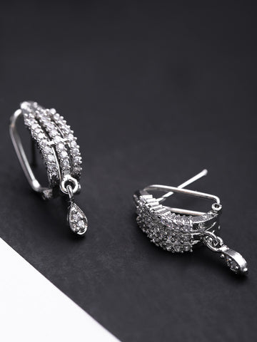 Silver Plated American Diamond Studded Bali Like Party Wear Stud Earrings